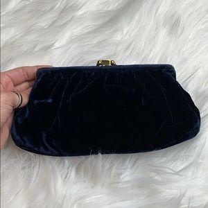 Vintage Bags - Vintage Ingber Navy Velvet Clutch